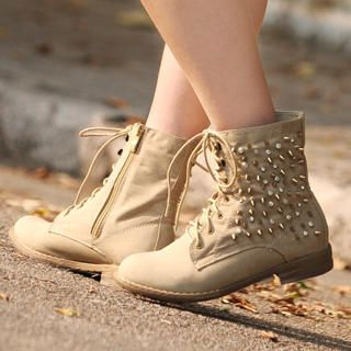 Lace-Up Boots with Spikes and Rhinestones