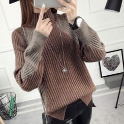 anzoveve - Two-Tone High Neck Sweater