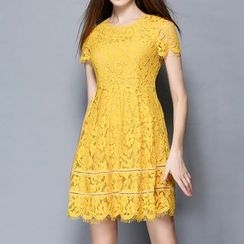 Merald - Short-Sleeve Lace Dress