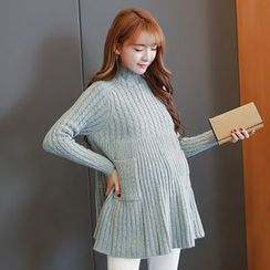 Oulimom - 孕妇高领麻花针织长款毛衣
