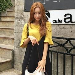 QNIGIRLS - Round-Neck Frill-Sleeve T-Shirt