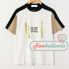 JVL - Short-Sleeve Contrast-Color Printed T-Shirt