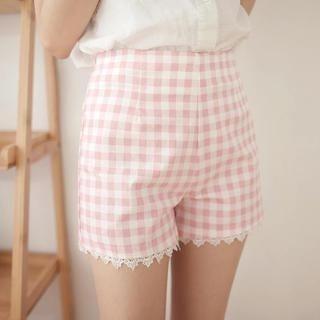 Tokyo Fashion - Elastic-Waist Lace-Trim Check Shorts