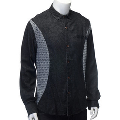 YesStyle M - Faux Leather Trim Panel Shirt