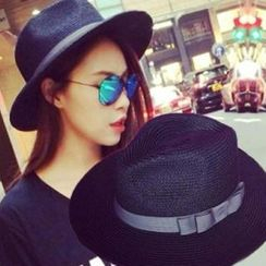 Clair Fashion - Bow-accent Straw Hat