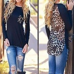 Rocho - Leopard Print Panel Long-Sleeve Top