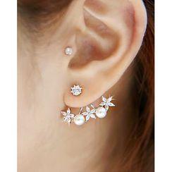 Miss21 Korea - Faux-Pearl Rhinestone Earrings