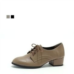 MODELSIS - Genuine Leather Kitten-Heel Oxford Pumps