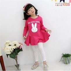nanakids - Girls Set: Rabbit Print Dress + Dotted Leggings