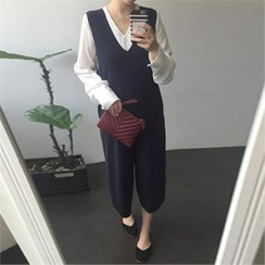 YOOM - V-Neck Sleeveless Jumper Pants