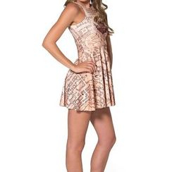 Omifa - Sleeveless Printed A-Line Dress