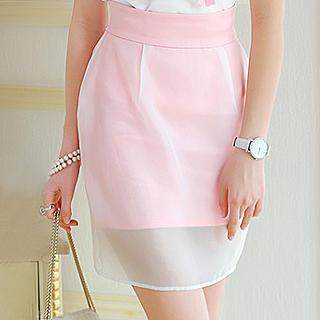 Dabuwawa - Organza Overlay Pencil Skirt