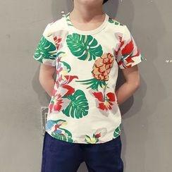 YOOYOO - Kids Floral Print Short Sleeve T-Shirt