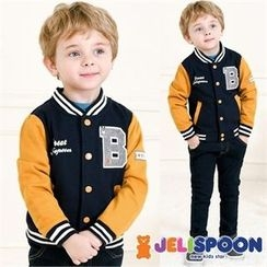 JELISPOON - Kids Color-Block Lettering Baseball Jacket