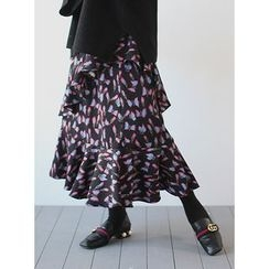 STYLEBYYAM - Patterned Layered Long Skirt