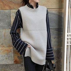NIPONJJUYA - Sleeveless Dip-Back Knit Top