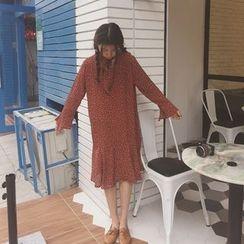 QZ Lady - Long-Sleeve Chiffon Midi Dress