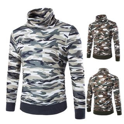 Bay Go Mall - Camo Turtleneck Long Sleeve Top