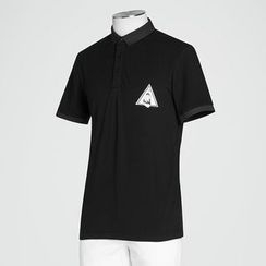 Antszone - Short-Sleeve Applique Polo Shirt