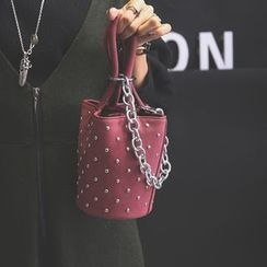 Aishang - Faux Leather Studded Hand Bag