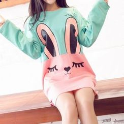 Dream Girl - Rabbit Printed Long-Sleeve T-shirt