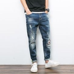 JETTE - Ripped Straight Fit Jeans