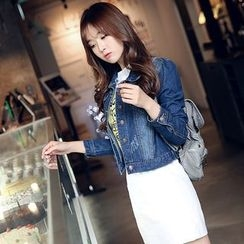 Romantica - Washed Buttoned Cropped Denim Jacket