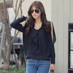 REDOPIN - Long-Sleeve Cutaway-Shoulder Chiffon Top