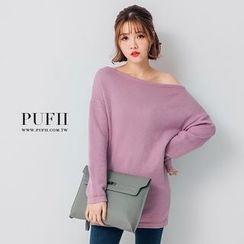 PUFII - 純色一字領長版針織上衣