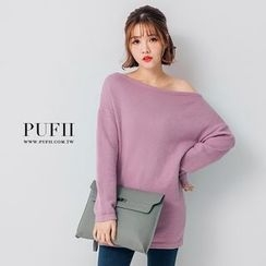 PUFII - Off-Shoulder Knit Mini Dress