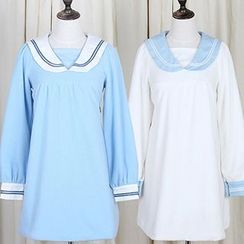 GOGO Girl - Long-Sleeve Sailor Collar Dress