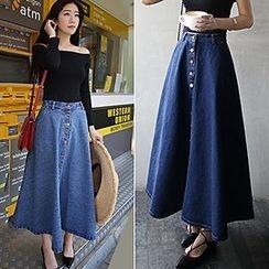Bloombloom - Buttoned Maxi Denim Skirt