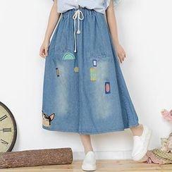 Moriville - Cat Embroidered Denim Maxi Skirt