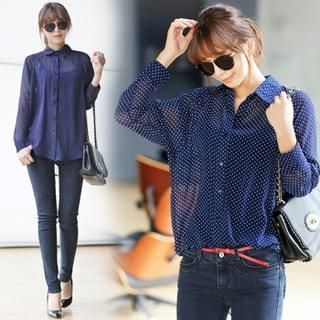 Jcstyle - Sheer Dotted Long-Sleeved Blouse
