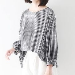 Meimei - Gingham Elbow-Sleeve Top