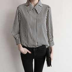 NIPONJJUYA - Cutout-Collar Stripe Shirt