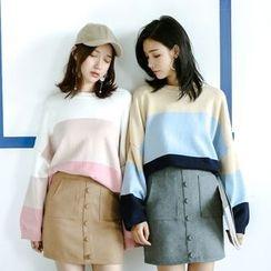 Porta - Colour Block Knit Top