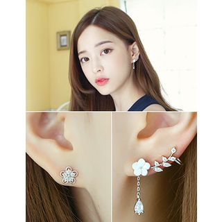 soo n soo - Flower Pattern Ear-Cuff & Single Rhinestone Earring