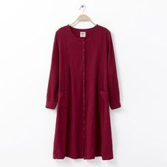 Rosadame - 長袖飾鈕釦連衣裙