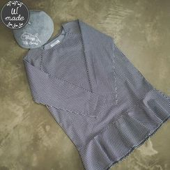 WITH IPUN - Ruffled-Hem Striped Dress