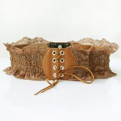 Goldenrod - Lace Trim Lace-Up Elastic Belt