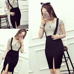 Melon Juice - Slit Suspender Skirt