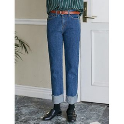 FROMBEGINNING - Rollup-Hem Straight-Cut Jeans