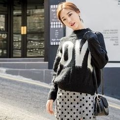 WITH IPUN - Mock-Neck Lettering Sweater