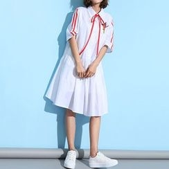 Myrtle - Bow Elbow-Sleeve Applique Shirtdress