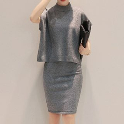 Donnae - Set: Short-Sleeve Sweater + Slit Front Knit Skirt