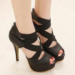 Mancienne - Platform Cross-Strap Sandals