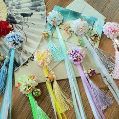 Kiyoha - Tasseled Flower Hair Clip Pair