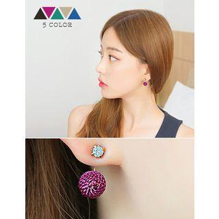 soo n soo - Colored Metal-Ball Earrings