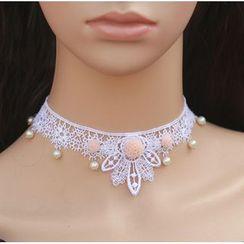 Amina - Faux Pearl Lace Bridal Choker